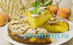 творожный пирог с персиками рецепт