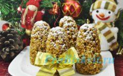 новогодний десерт шишки из песочного теста со сгущенкой
