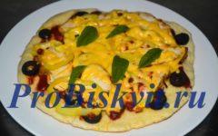 ленивая пицца на кефире на сковороде